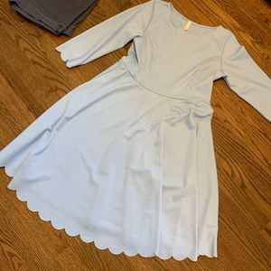 Blue scalloped maternity dress
